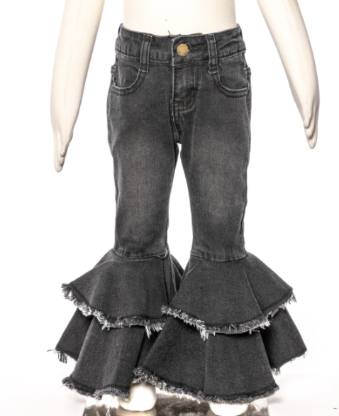 ML Kids Little Girl and Big Girl  Black Bell Bottom  Jeans