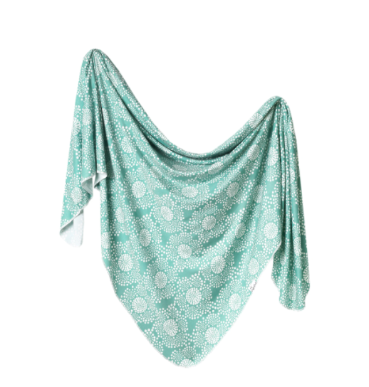 Copper Pearl Swaddle Blanket-Turquoise/White Floral