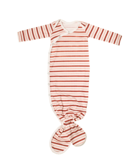 Copper Pearl Knotted Gown-Red  Striped