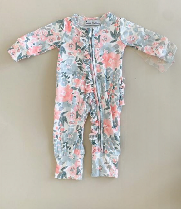 Queen Maddyn Addyson Floral Footie with Zippers