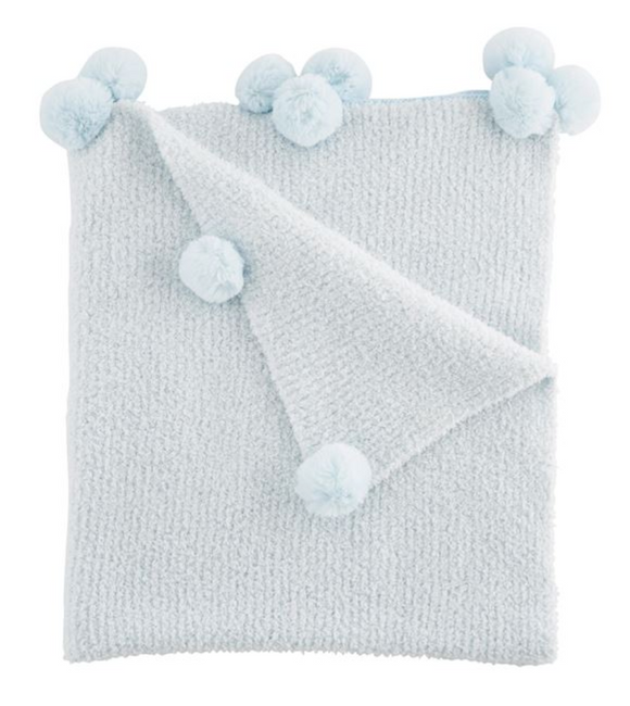 Ribbed chenille blanket features chenille pom-pom trim.