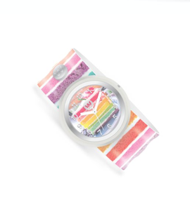 Slap Bracelet Watch-Rainbow Cake