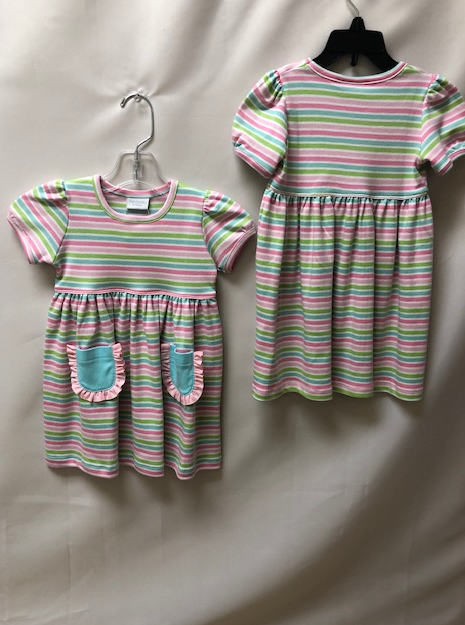 Squiggles by Charlie-Toddler/Little Girls Multi-Colored Striped Dress