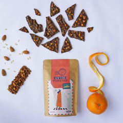 VEGEFIED 72% DARK NEW YORK BREAKFAST BARKS WITH ORANGE PEEL & GRANOLA