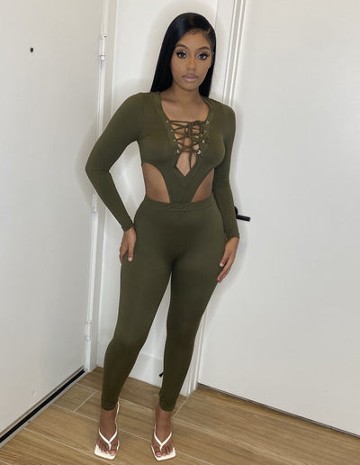 Olive cut out jumpsuit - mayukome.com