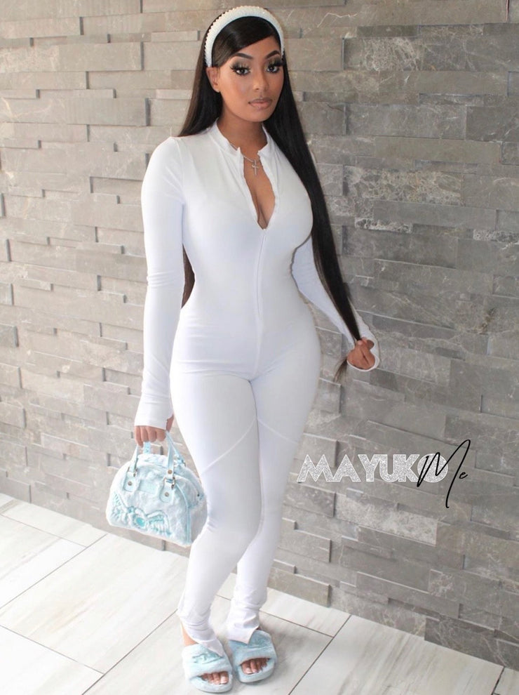 White full body jumpsuit - mayukome.com
