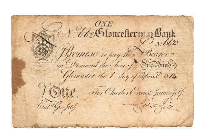 One of the first banknotes as issued by the bank of England