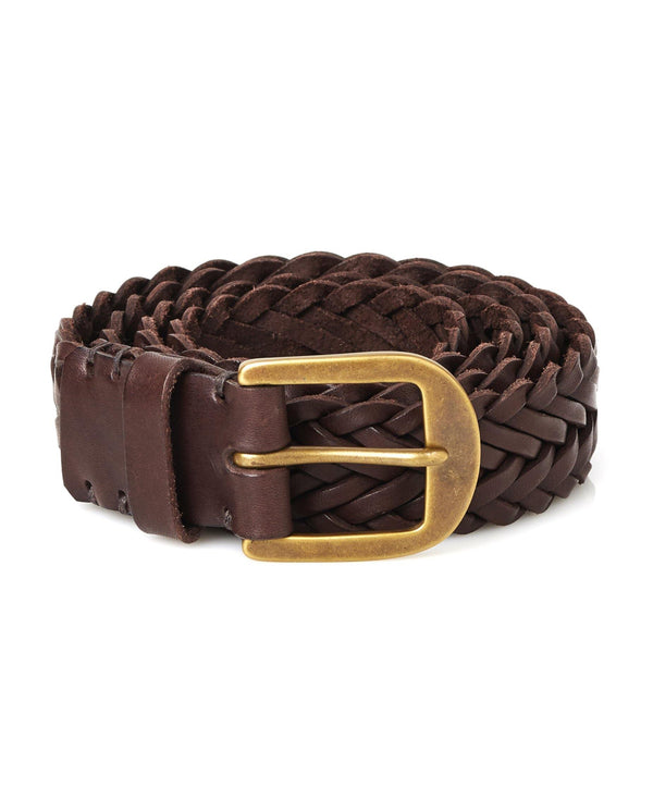 Braided Belt- Walnut Brown / Brass - Debonair
