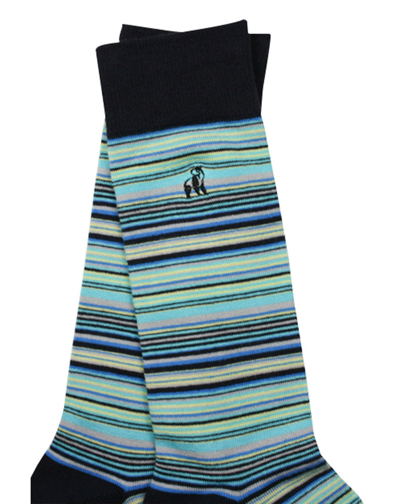 Navy and Blue Narrow Striped Bamboo Socks - Debonair