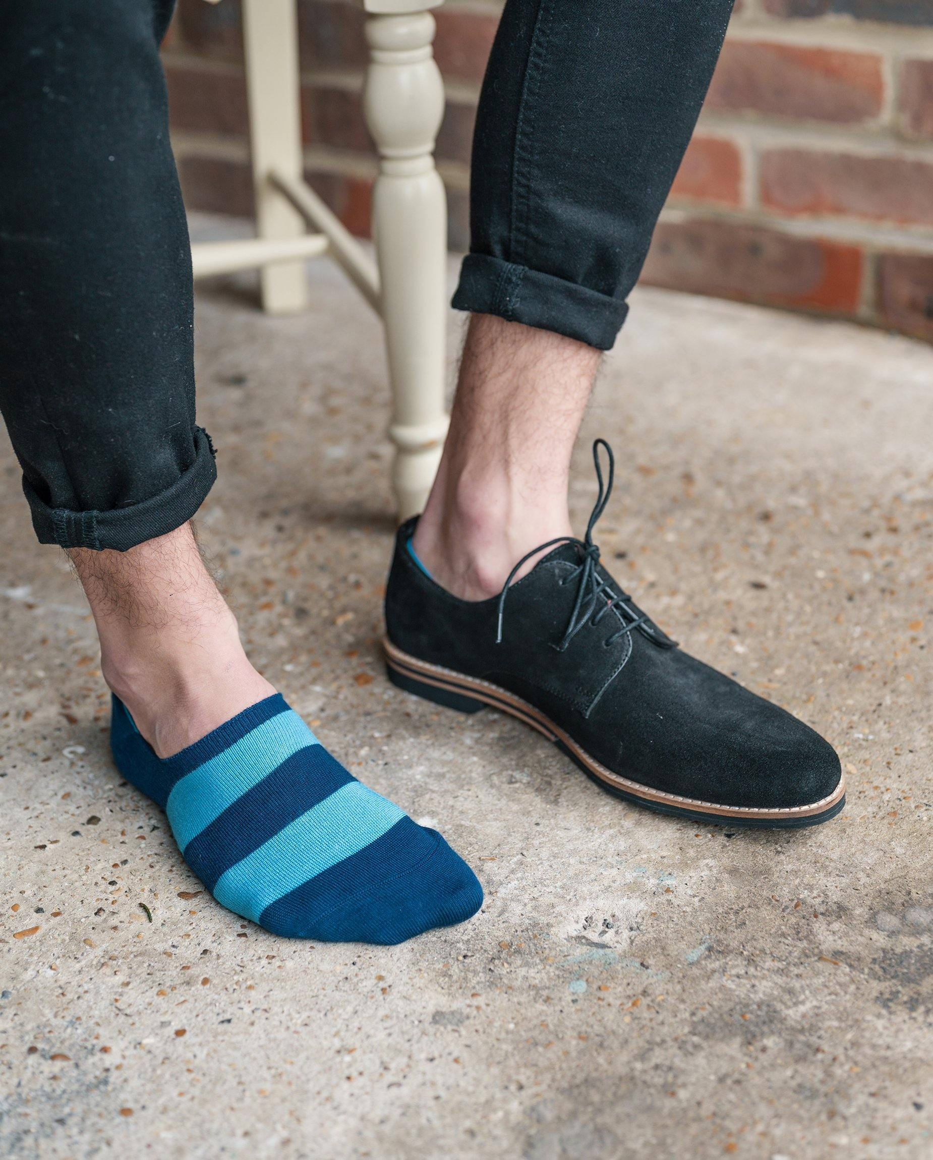 "Sky Blue Striped ""No-Show"" Bamboo Socks - Debonair"
