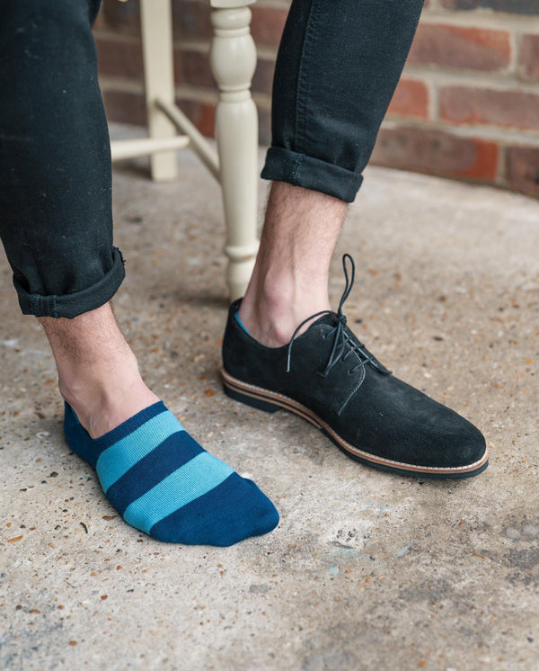"Sky Blue Striped ""No-Show"" Bamboo Socks"
