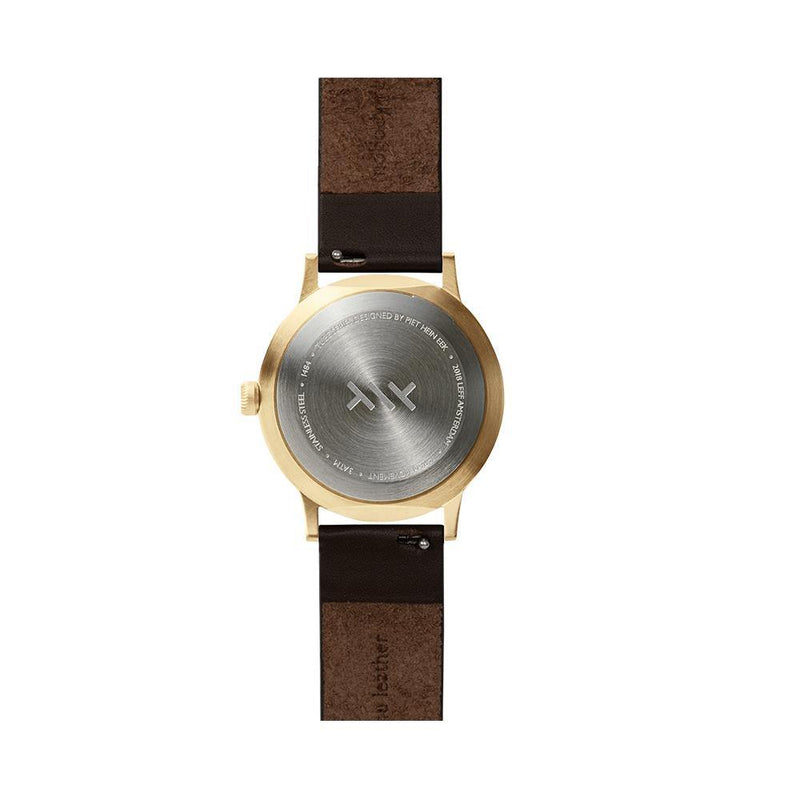 T Series - Brass Case Brown Leather Strap by LEFF amsterdam
