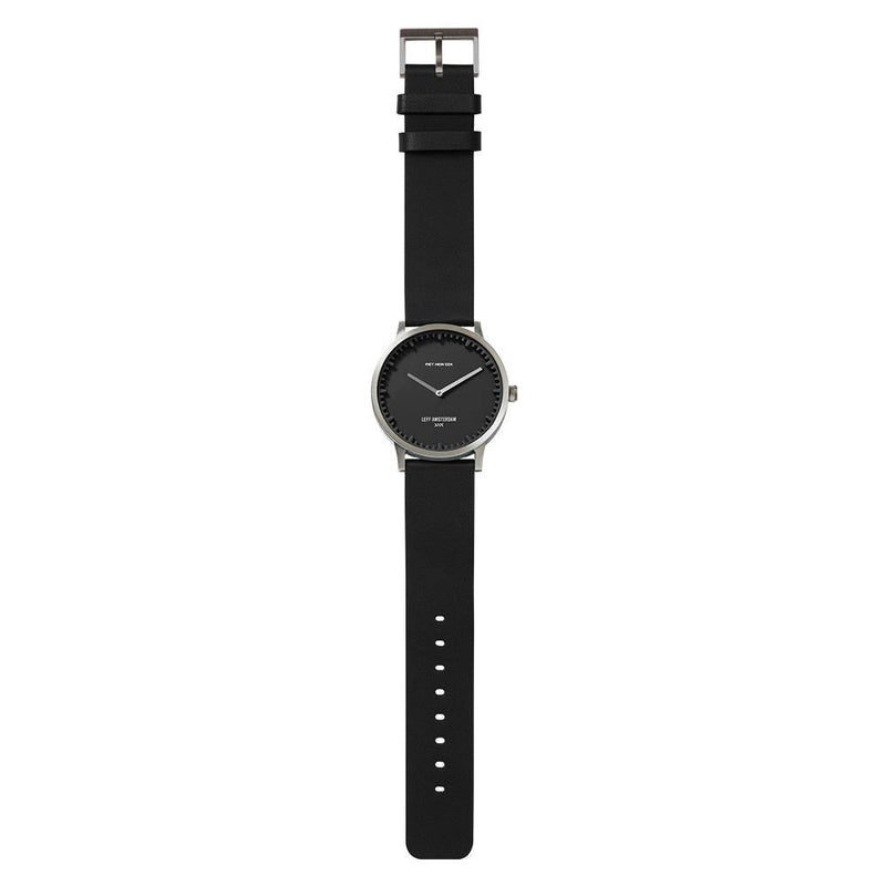 T Series Classic - Steel/Black Case Black Leather Strap