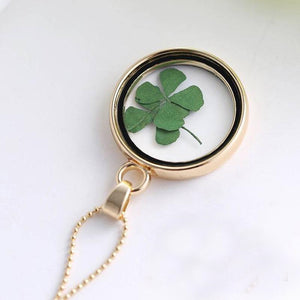 Four-Leaf Clover Locket Pendant Necklace