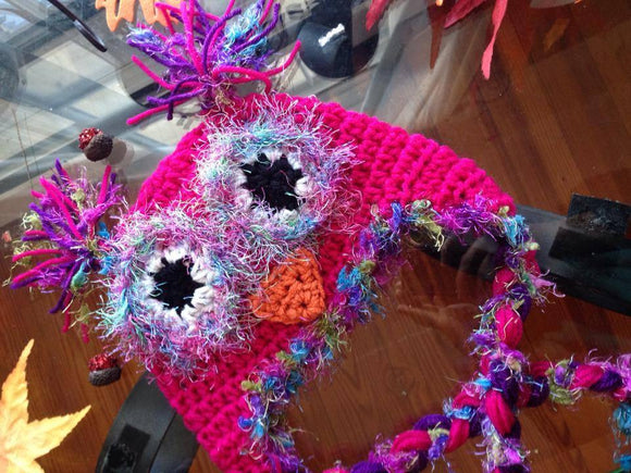 Colorful Bling Owl Crochet Hat