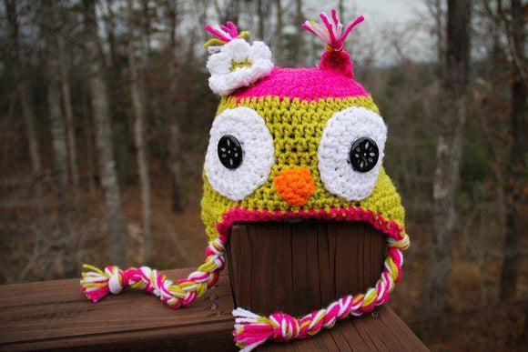 Pink lime green owl