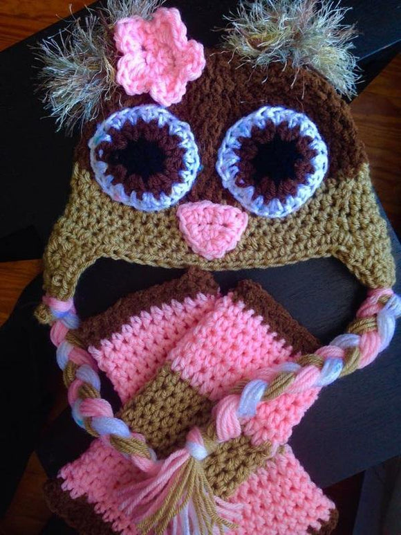 Brown, Beige & Pink Owl Crochet Hat