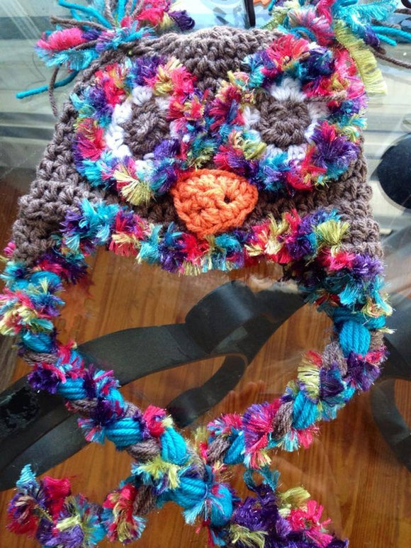 Brown owl with pinks blues novelty yarn trim glitter eyes
