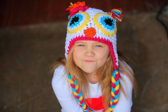 Owl Crochet Hat with Tassels