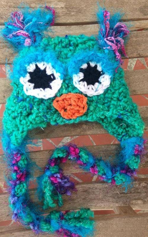 Beautiful Boucle Turqoise blue and purple owl hat