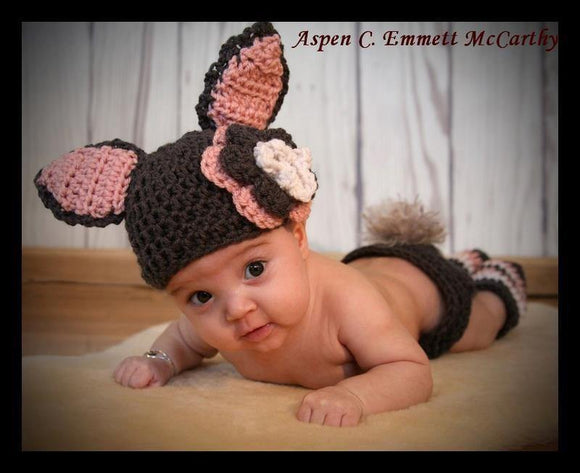 Bunny Ears Crochet Hat with Triple Flower - Maddies Mad Hatters