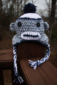 Sock Monkey white and blue tweed
