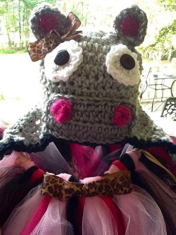Hippo Crochet Hat with Cheetah Bow - Maddies Mad Hatters