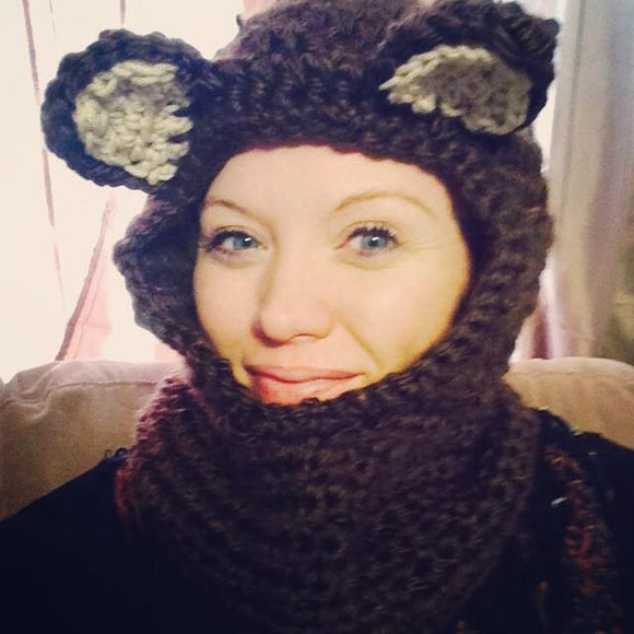 Brown bear cowl hat