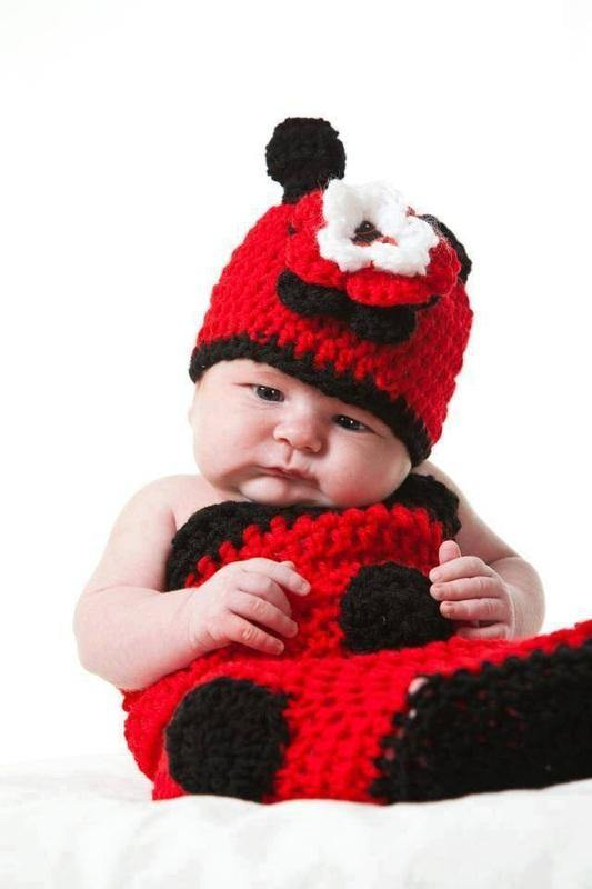 Ladybug Crochet Hat with Triple-layer Flowers