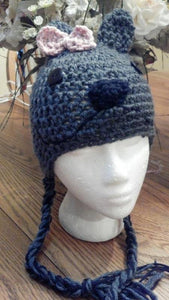 Puppy Crochet Hat with Bow - Maddies Mad Hatters
