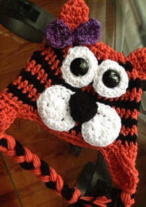 Black and Orange Striped Tiger Crochet Hat - Maddies Mad Hatters