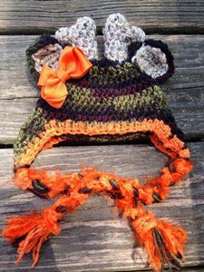 Girl Camo Deer Crochet Hat with Bow - Maddies Mad Hatters