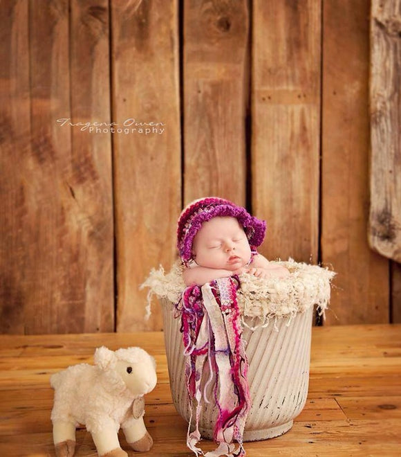 Purple Fabric Bonnet Crochet Hat
