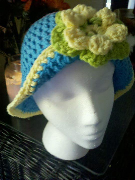 Crochet Bonnet Hat with Large Double-Layer Flower - Maddies Mad Hatters