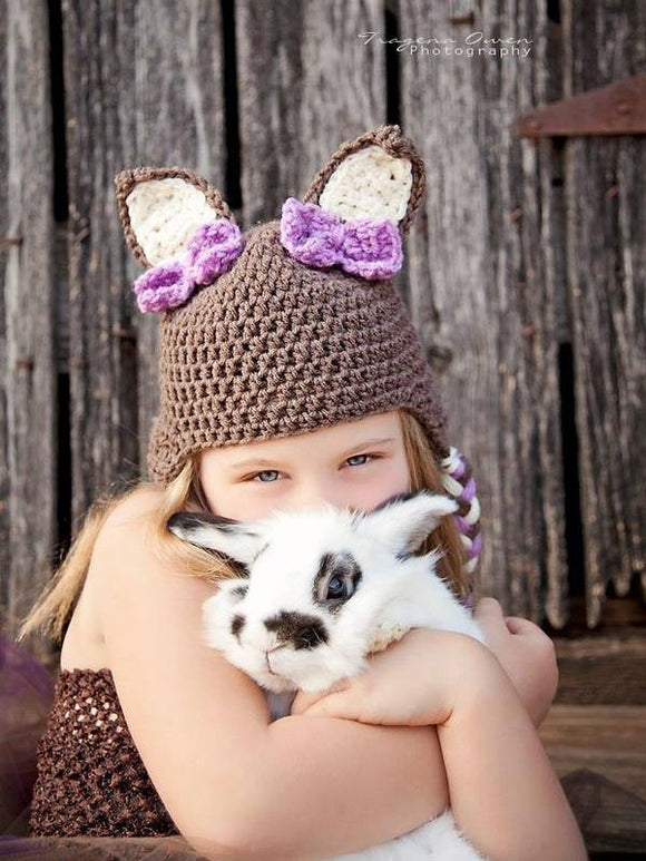 Bunny Crochet Hat with Purple Bows - Maddies Mad Hatters