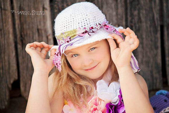 Sun Bonnet Crochet Hat with Rag Tie