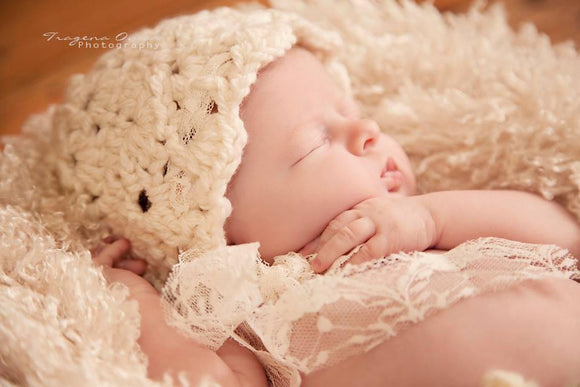 Cream Lace Bonnet Crochet Hat - Maddies Mad Hatters