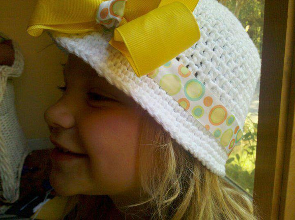 Crochet Sun Hat with Large Bow