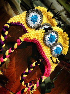 Matching Yellow Minions Crochet Hats - Maddies Mad Hatters