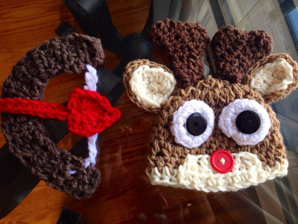 Deer Crochet Hat with Bow & Arrow Set - Maddies Mad Hatters