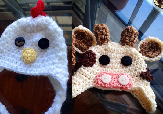 Cow and Chicken Crochet Hat Set - Maddies Mad Hatters