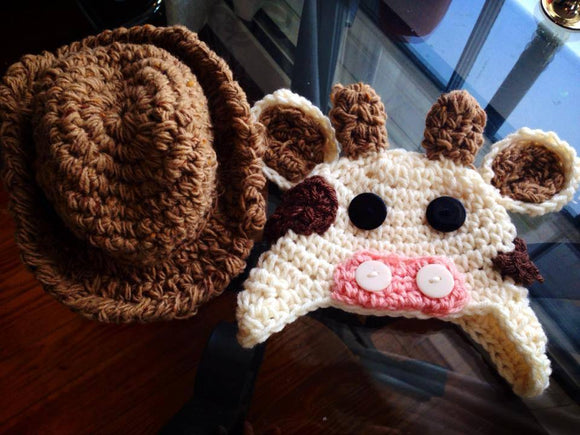 Cowboy Crochet Hat and Cow Set - Maddies Mad Hatters