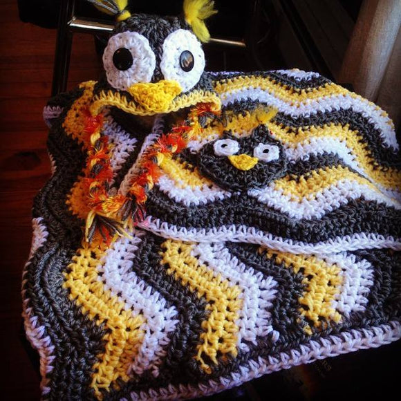 Ripple Blanket with Matching Owl Hat