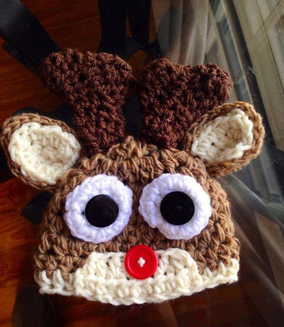 Rudolth the Red-Nosed Reindeer Crochet Hat