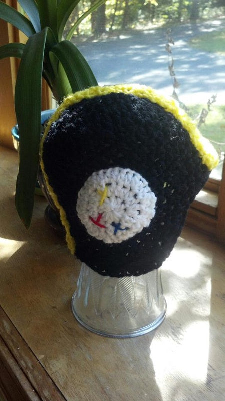 Steelers Football Helmet Crochet Hat