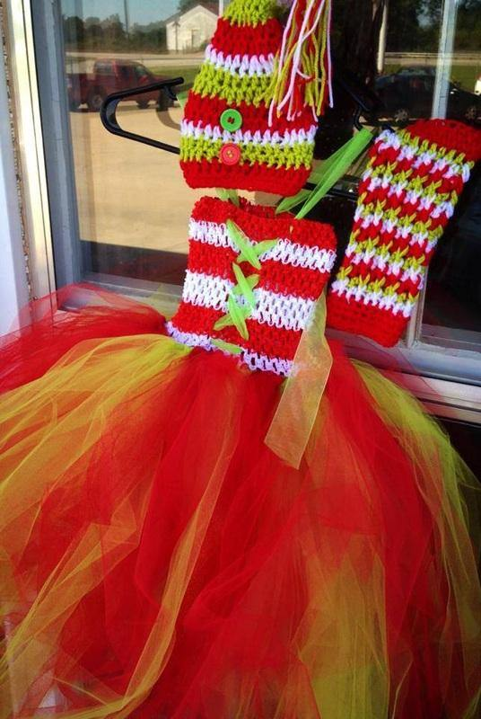 Christmas Tutu Dress, Legwarmers and Crochet Hat - Maddies Mad Hatters