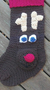 Rudolph Crochet Stocking - Maddies Mad Hatters