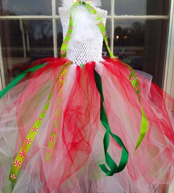 Christmas Feathered Peppermints Tutu Dress