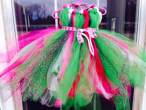 Christmas Cheetah Tutu Dress - Maddies Mad Hatters