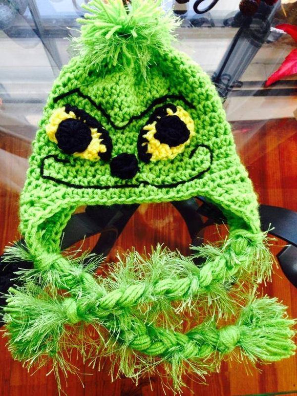 Christmas Grinch Crochet Hat - Maddies Mad Hatters